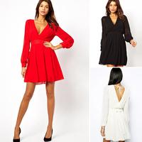 Plus Size 2015 New Sexy Deep V Neck Dress Fashion Women Hollow Out Back v neck long Sleeve winter Dress black white red XXL