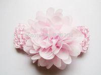 pink baby infant chiffon and lace flower headband,flower baptism headband