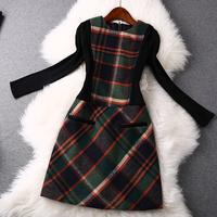 2014 news high quality Plaid knit woolen dress women dress