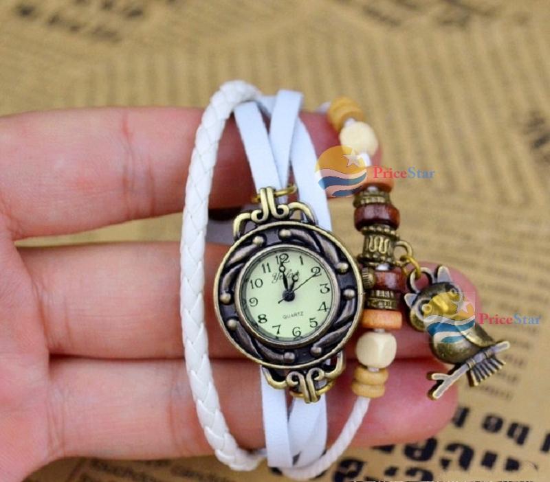 SunGirl Hot Fashion Woman Multi-color Leather Weave Wrap Wrist OWL Watch Charm Bracelet(China (Mainland))