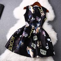 2014 news high quality Printed bag car sleeveless Dress women dress