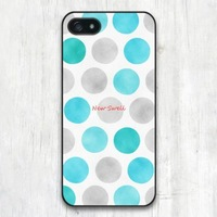 New Case For iPhone 6 5 5S 5C 4 4S and 6 Plus Water Mint Blue Polka Dots Patterned Protective Cases High Quality Phone Covers