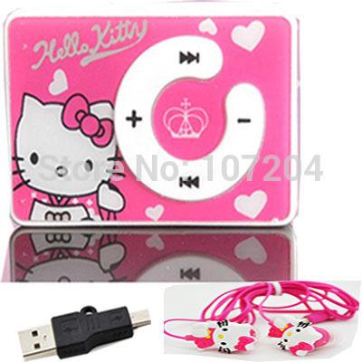 2015 fashion Hello Kitty MP3 Music Player Support Micro TF Card +hello Kitty Earphone+Mini USB(China (Mainland))