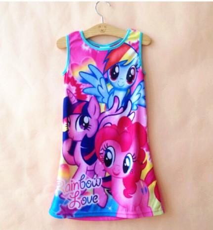 One piece retail girl girls summer sleeveless Nightie dress pajamas nightgown sleepwear kids nightie(China (Mainland))
