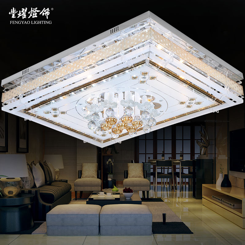 Modern minimalist living room lamp 2014 new restaurant bedroom rectangular LED Crystal Ceiling lamps lighting(China (Mainland))