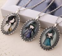 1 Pcs Free Shipping Gorjuss Necklace Metal Jane English Girl Sweater Chain Statement Necklaces & Pendants 24 styles