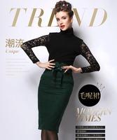Free shipping 2015 Retro Hepburn Cotton Padded Woolen Winter Skirt Pocket Hip Pencil A-Line Skirt