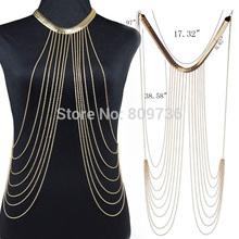 2015 New Sexy Punk Multilayer Gold Tone Long Tassel Body Chains Necklace Fashion Bikini Harness Beach Jewelry for Women Free