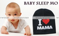 Free Shipping Baby Knitted Cotton Beanie Hat Toddler Baby Kids Girl Boy I LOVE PAPA MAMA Print Warm Hats 4018-902