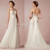 Vestidos De Novia 2015 New Arrival Elegant Romantic A Line Lace Bodice Tulle Floor Length Salomon Bride Wedding Dress