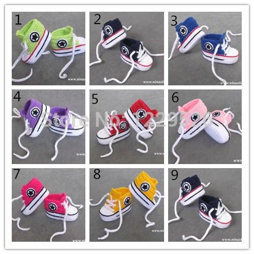 Hot Sale Baby crochet sneakers shoes booties,Handmade crochet 5 star sandals prewalker for infants/toddlers/kids/babies(China (Mainland))