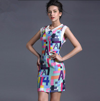 Free Shipping 2015 summer sweet fresh small letter print a-line stand collar short-sleeve women's one-piece dress Fashion