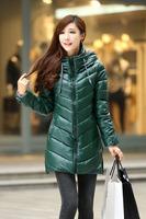 Freeshipping Winter women long coat Plus velvet padded jacket coat cotton fashion coat women down jacket