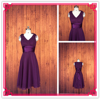 Real Photos A-line V-neck Sleeveless Chiffon Knee Length Sash Grape Bridesmaid Dress 2014