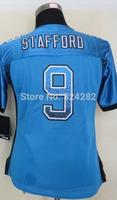 2014-15 Stitched - 9 Matthew Stafford Women's Drift Fashion Blue Elite Football Jerseys size: S-XXL
