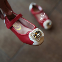 2015spring princess child leather shoes kids girls sweet rhinestone single shoes children patchwork color flats fashion footwear
