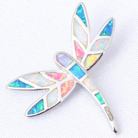 Color Dragonfly  Fantastic Pendants Free shipping  Color  Fire Opal 925 Silver fashion jewelry Necklace Pendants OP430