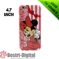 Free shipping, Minnie Mouse Soft Cute TPU Back cover case for iphone 6 case 4.7 inch phone bag skin cover