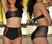 Sexy Women Bikini Set Push-up Padded Halter-neck Bra Bathing High Waist Triangle Swimsuit Swimwear Beachwear