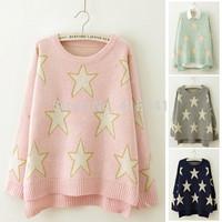 2015 New Fashion Gold Line Stars Irregular Split Hem Women Sweater Long-Sleeved O-Neck Pullover Knitted Sweater