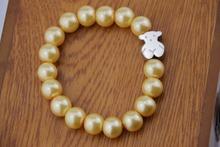 Simple imitation pearl bracelet Lovely Steel Bear Charm Bracelet To the best of women and children