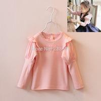 Spring children's clothing girls child cotton princess Tees baby's puff long-sleeve basic T shirt kids fashion all-match Top