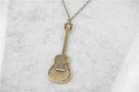 fashion simple necklace DIY Vintage guitar ancient bronze pendant necklace for boys and girls best good gift