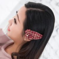 2015 Brand Design Fashion Korean Delicate Plaid Bowknot Women Girls Hair Clip Hairpin Bobby Pin Hair Accessories Wholesale
