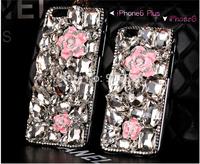 New shiny big flower diamond rheinstone DIY Case For iphone 6 transparent HARD Case cover for iphone6 plus,free Film