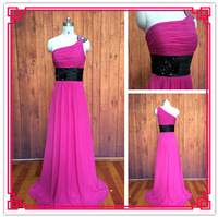 Custom Made A-line One Shoulder Floor Length Ruched Black Sash Flower Beaded Fuchsia Chiffon Brides Maid Dresses Long 2015