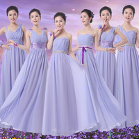 Free Shipping Korean fashion long paragraph Tube Top Purple Lilac 2015 Bridesmaid Dresses Party Gowns Wedding Gown