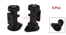 Grátis frete 5 Pcs altura ajustável de plástico preto gabinete armário perna pé para cozinha de banho(China (Mainland))