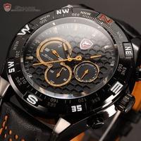 2015 Brand New Shark Dual Time 6 Hands Auto Date Black Genuine Leather Band Relogio Men Quartz Orange Sports Wrist Watch / SH154