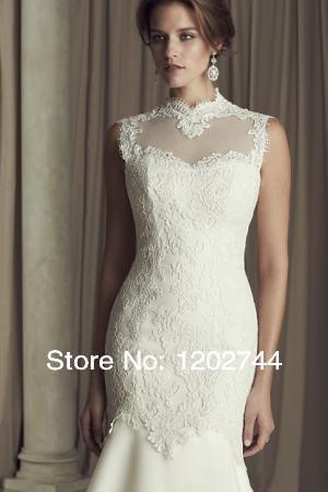Holiday Hot sale 2014 Wedding Dresses Fashion Mermaid High Collar Lace Floor length Chapel Train Standard code Wedding gown(China (Mainland))