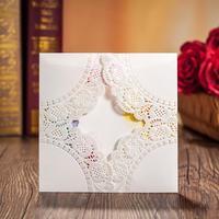 50 sets(Card+envelop+seal)White Luxury Laser Cut Wedding Invitations Cards Engagement Gatefold Invite 15*15cm Wedding Favours
