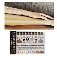 Hot Sale Unisex Metallic Removable Swan Temporary Tattoo Stickers Body Art Waterproof Tattoon 65376