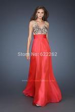 Heißer Verkauf eine Linie V-Ausschnitt bodenlangen Chiffon rot prom Kleider Low Back Abendkleider Perlen Pailletten(China (Mainland))