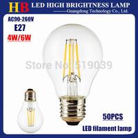 Factory sale 50pcs 4W 6W full Power E27 LED filament bulb 4-6LEDs Chip LED lamp White & Warm white 110V/220V free Fedex shipping