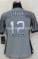 2014-15 Stitched - 12 Roger Staubach Women's Drift Fashion Gray Elite Football Jerseys size: S-XXL