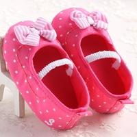 2015 spring summer baby girls soft cloth bottom indoor velcro elastic first walkers pink polkadot princess bow prewalkers