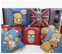 The new European and American cartoon The Simpsons household linen pillow office sofa cushion pillow retro car cushions