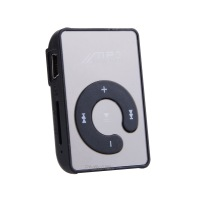 Newest Fashion Black MINI clip mirror USD MP3 Player with Micro TF/SD card Slot Mini Sport Mirror clip MP3 Player #7 SV004793