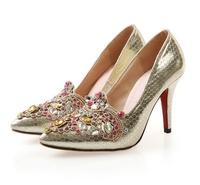 2015 Arrival Fashion Women's Shoes Spring Women Genuine Leather High Heel Shoes Rhinestones Bridal Wedding Heels Diamonds  L281