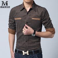 Free Shipping New 2015 Men Shirts Casual Long-sleeve Polka Dot Dress Shirt Slim Fit European Design Camisa Masculina MC168