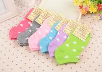 Free shipping!Hot Sale Perempuan Cute candy color heart Socks lady Boat Socks women socks 6pairs/lot