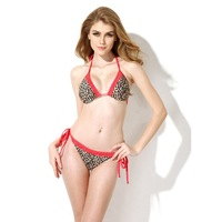 2015 New Design Sexy Leopard  Red Lace Triangle Top with Classic Cut Bottom Bikini Swimwear Low Waist With Side Tie CA151001-510