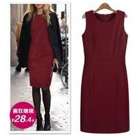 Autumn Dress 2015 Women Work Wear Dresses Office Ladies Vintage Casual Bodycon Pencil Dresses Plus Size S-XXXl free shipping