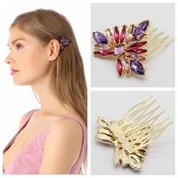 2015 New Full Colors Crystal Acrylic Petal Tuck Comb Women Flower Hair Pin Hair Clip Headwear Accessories Wholesale