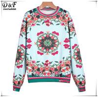 Roupas Feminina Fashion Design Pullovers Women 2015 Spring Brand Casual White Long Sleeve Vintage Floral Loose Sweatshirt