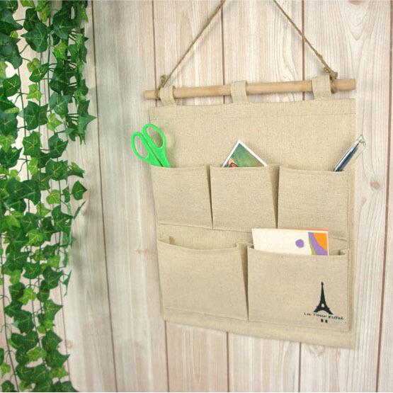 6 pcs/Lot Linen made Vintage Wall 4 Pockets Shelf Hanging Storage Bag Home Decor Organizer(China (Mainland))
